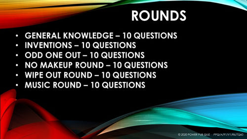 A91 Six Round Sixty Question Quiz - Added 11 June 2020