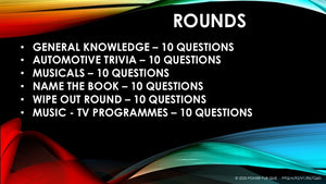 A92 Six Round Sixty Question Quiz - Added 25 June 2020
