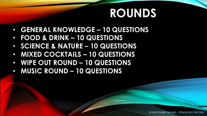 A94 Six Round Sixty Question Quiz - Added 11 July 2020