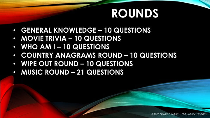 A95 Six Round Seventy One Question Quiz - Added 24 July 2020