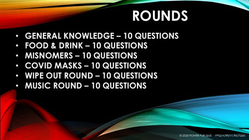 A98 Six Round Sixty Question Quiz - Added 27 August 2020