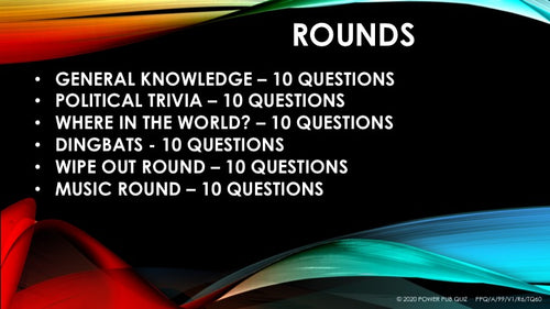 A99 Six Round Sixty Question Quiz - Added 18 September 2020