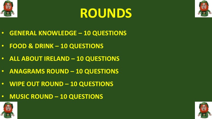 St Patrick's Day Downloadable Powerpoint Pub Quiz
