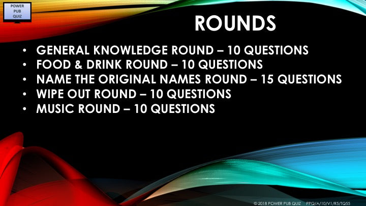A10 Sixty Five Question Five Round Quiz
