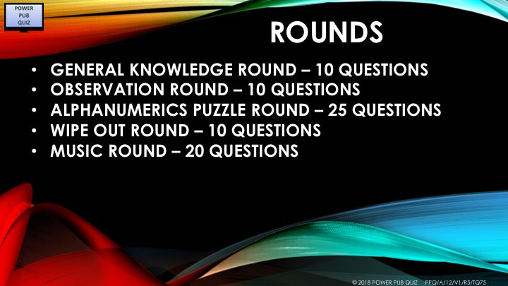 A12 V1 - Five rounds seventy five question pub quiz