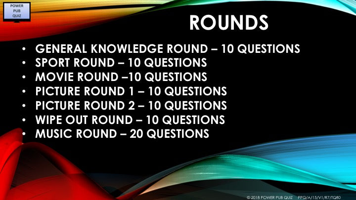 A15 - Seven round eighty question Pub Quiz