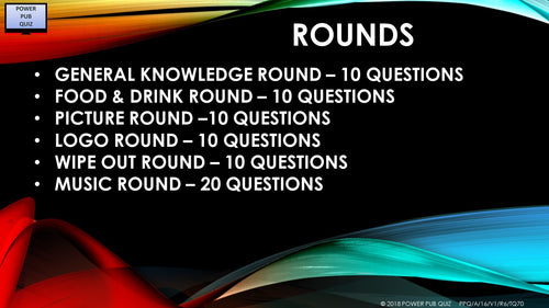 A16 V1 - Six Round Seventy Question Quiz