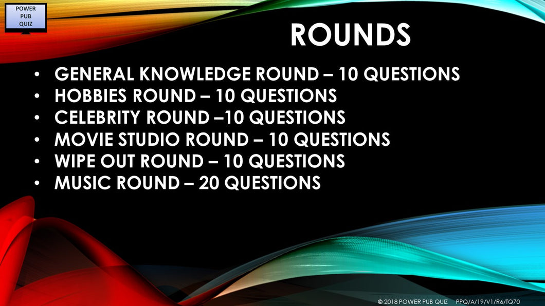 A19 V1 - Six Round Seventy Question Quiz