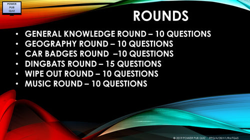 A028 - Six Round 65 Question Quiz