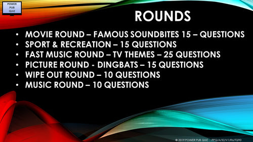A32 Six Round 90 Question Pub Quiz