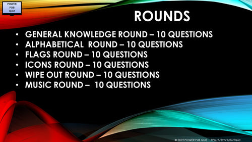 A39 Six Round Sixty Question Quiz