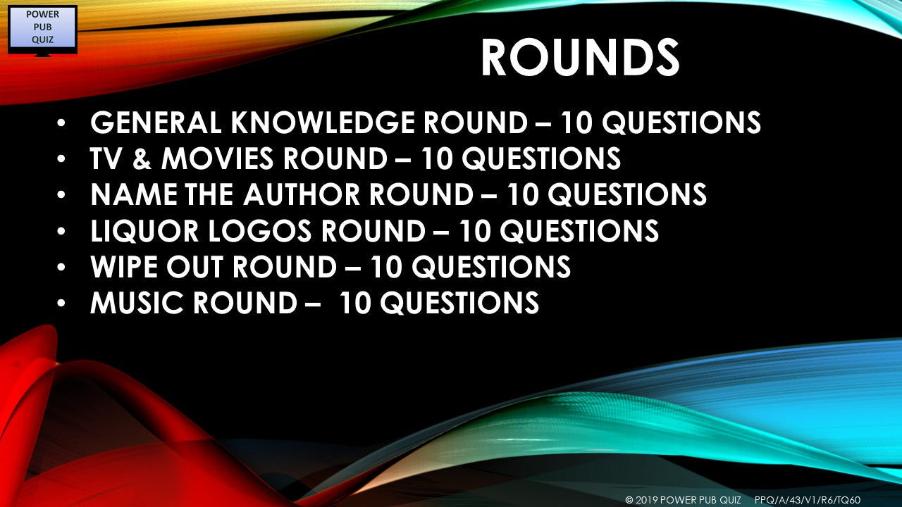 A43 Six Round Sixty Question Quiz