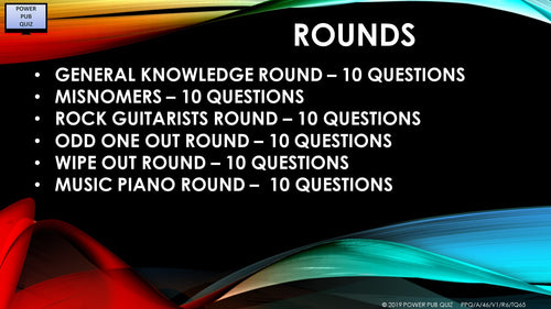 A46 Six Round Sixty-Five Question Quiz