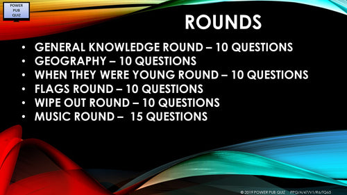 A47 Six Round Sixty-Five Question Quiz