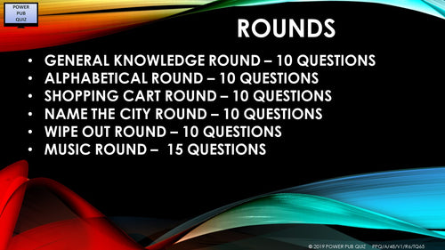 A48 Six Round Sixty-Five Question Quiz