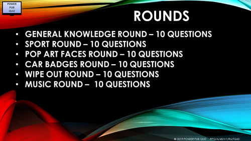 A49 Six Round Sixty Question Quiz