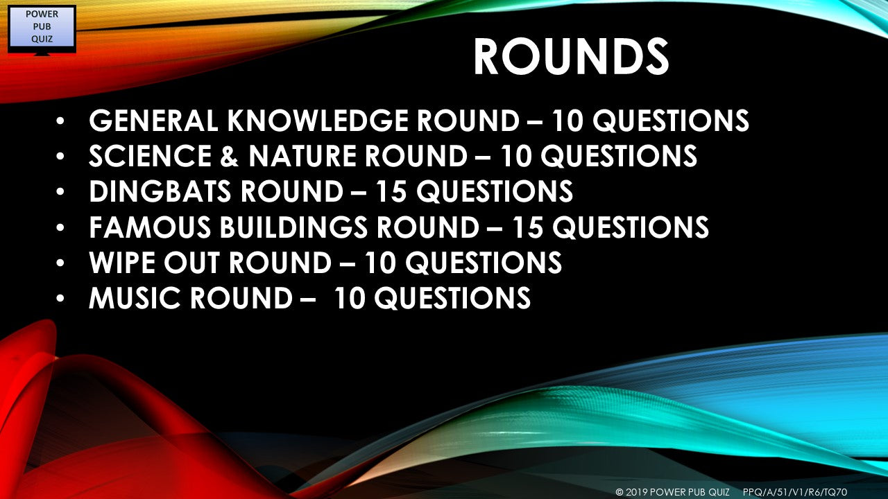 A51 Six Round Seventy Question Quiz