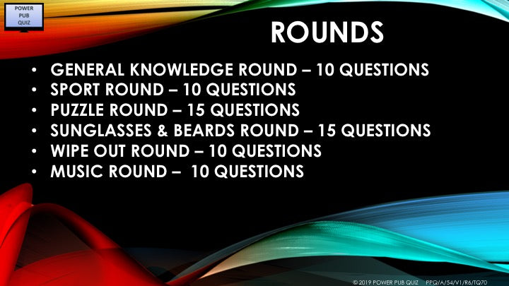 A54 Six Round Seventy Question Quiz