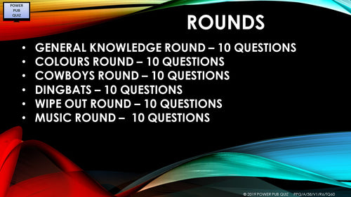 A58 Six Round Sixty Question Quiz