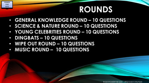 A60 Six Round Sixty Question Quiz