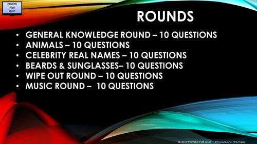 A62 Six Round Sixty Question Quiz