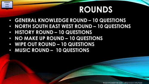 A63 Six Round Sixty Question Quiz