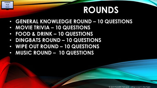 A65 Six Round Sixty Question Quiz