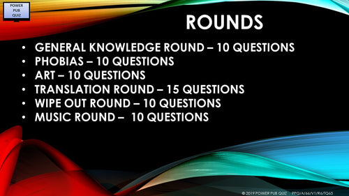 A66 Six Round Sixty-Five Question Quiz