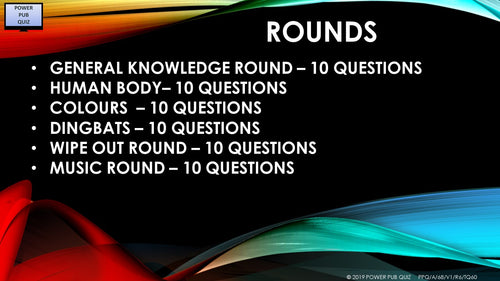 A68 Six Round Sixty Question Quiz
