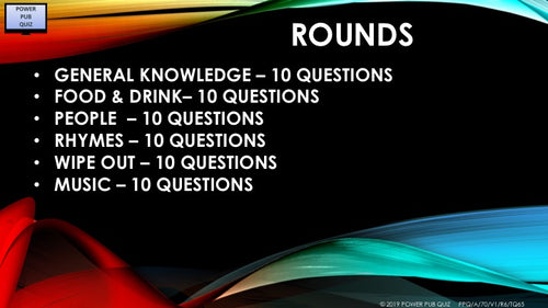 A70 Six Round Sixty Question Quiz