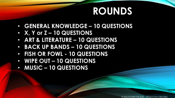 A74 Seven Round Seventy Question Quiz