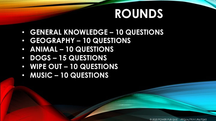 A79 Six Round Sixty-Five Question Quiz