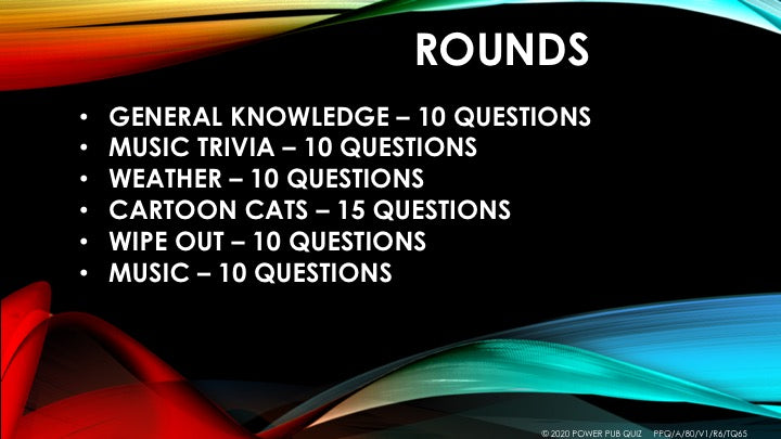 A80 Six Round Sixty-Five Question Quiz