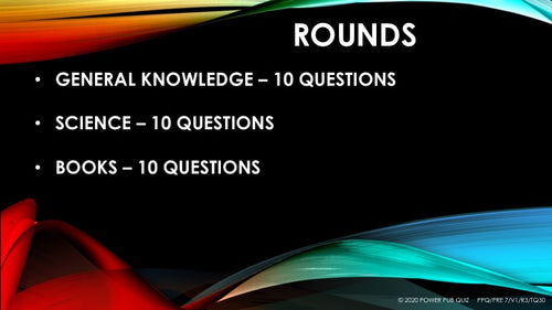 Pre 7 year old - 0001 - Three Round Thirty Question Quiz in Powerpoint Format