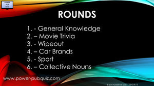 B12 Six Round Quiz in PDF or Paper Format