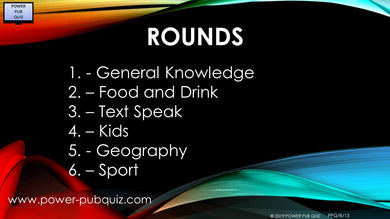 B13 Six Round Quiz in PDF or Paper Format