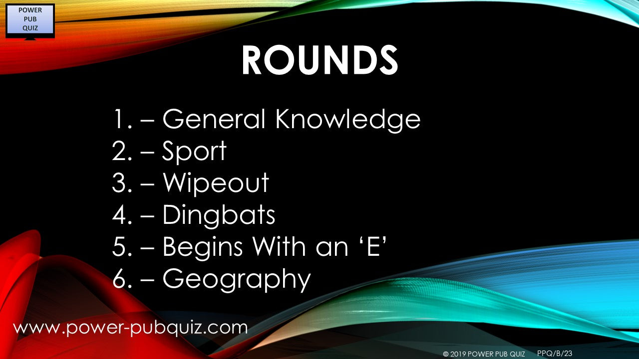 B23 Six Round Sixty Question Quiz in PDF Format