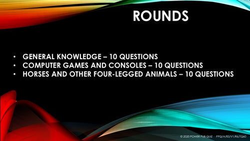 10 - 16 year old - With Horses - Three Round Thirty Question Quiz in Powerpoint or PDF Format