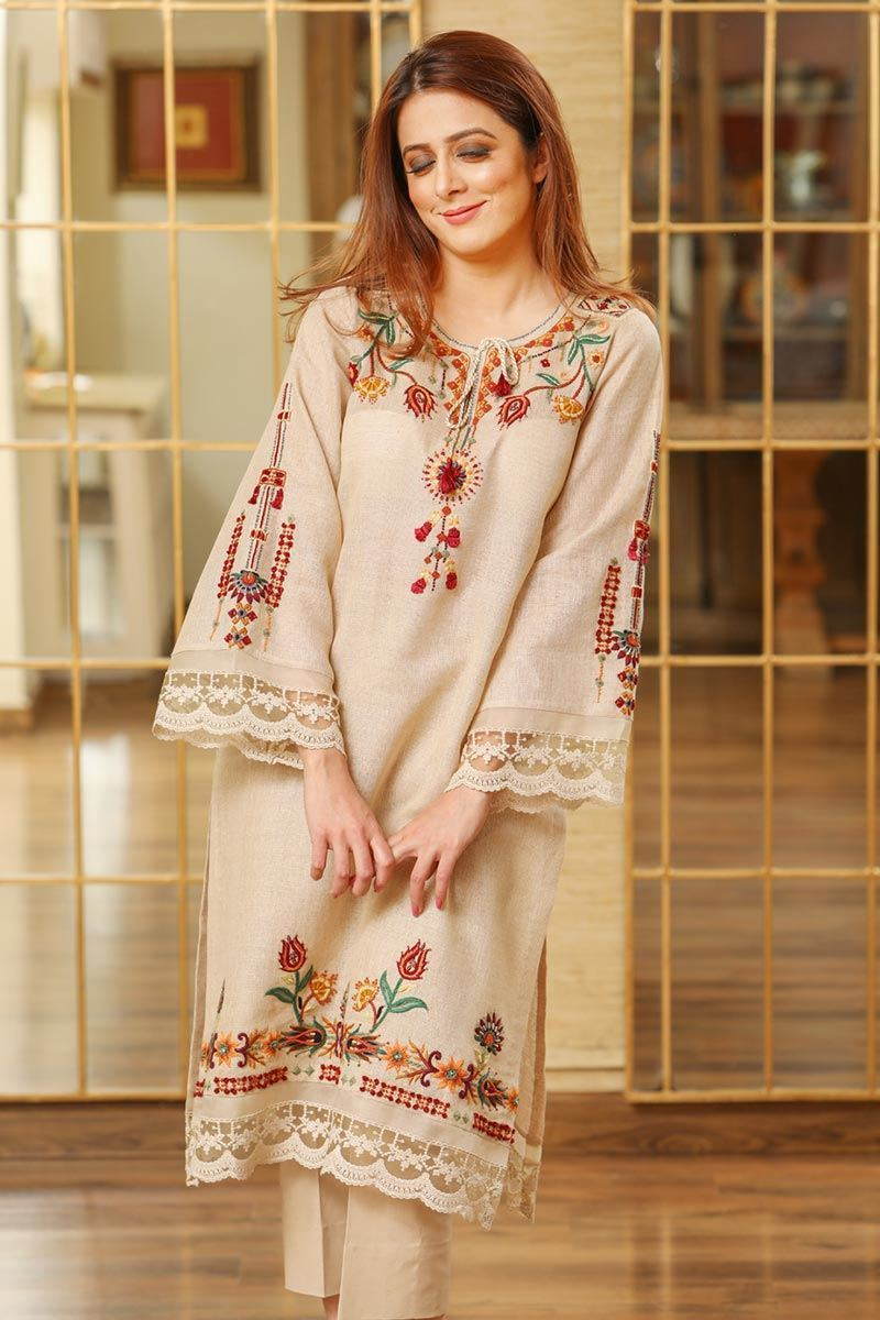 Female choice FCC-5102 Skin Embroidered khaddar two piece Winter Collection
