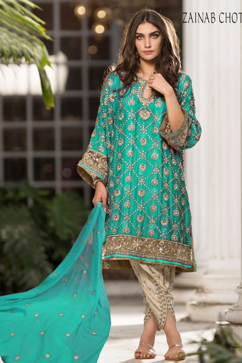 Zainab Chotani ZN-01 Ferozi Embroidered three piece With Chiffon Duppata