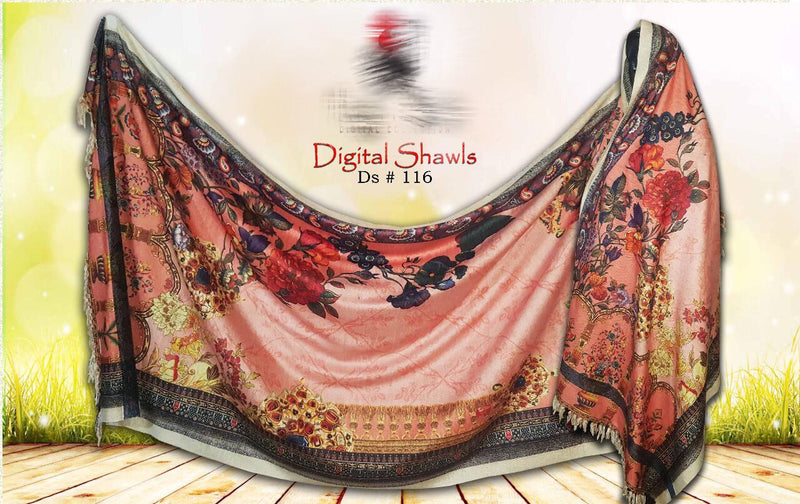 FCC  D-116 Digital Printed Chine Velvet Shawl Winter Collection