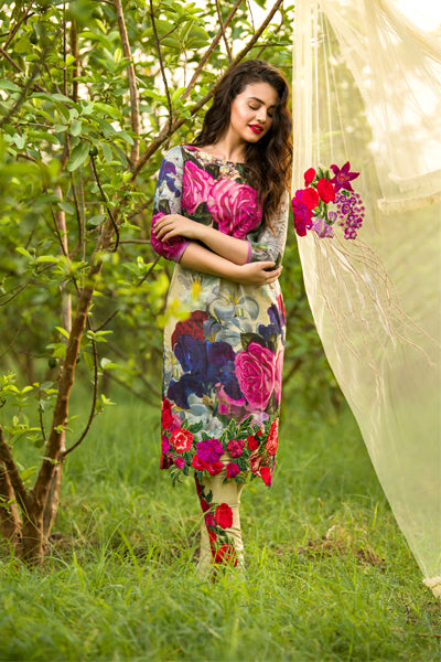 Asifa Nabeel AN-47 Linen three piece suit with Woolen Shawl