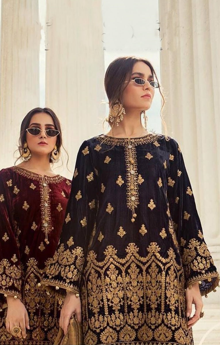 Maria B MB-Royal Embroidered Velvet two piece Winter Collection