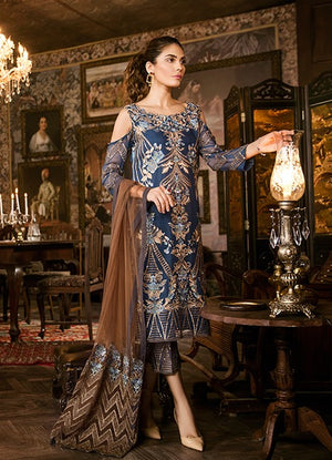 Iznik Persian Blue (IZK 04) Unstitched Chiffon Collection Embroidered Two Piece Shirt & Duppata