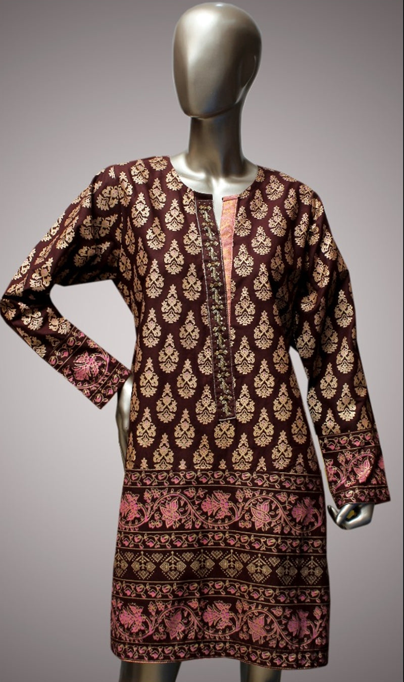 FCC-003 Brown Lawn Embroiderd Stitched Shirt