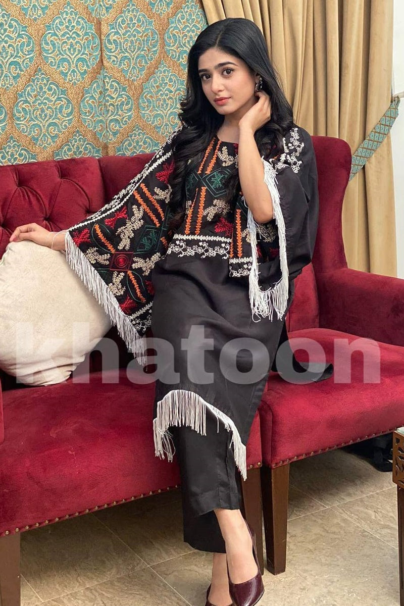 Female choice FCC-5094 Black Khaddar Embroidered Two piece