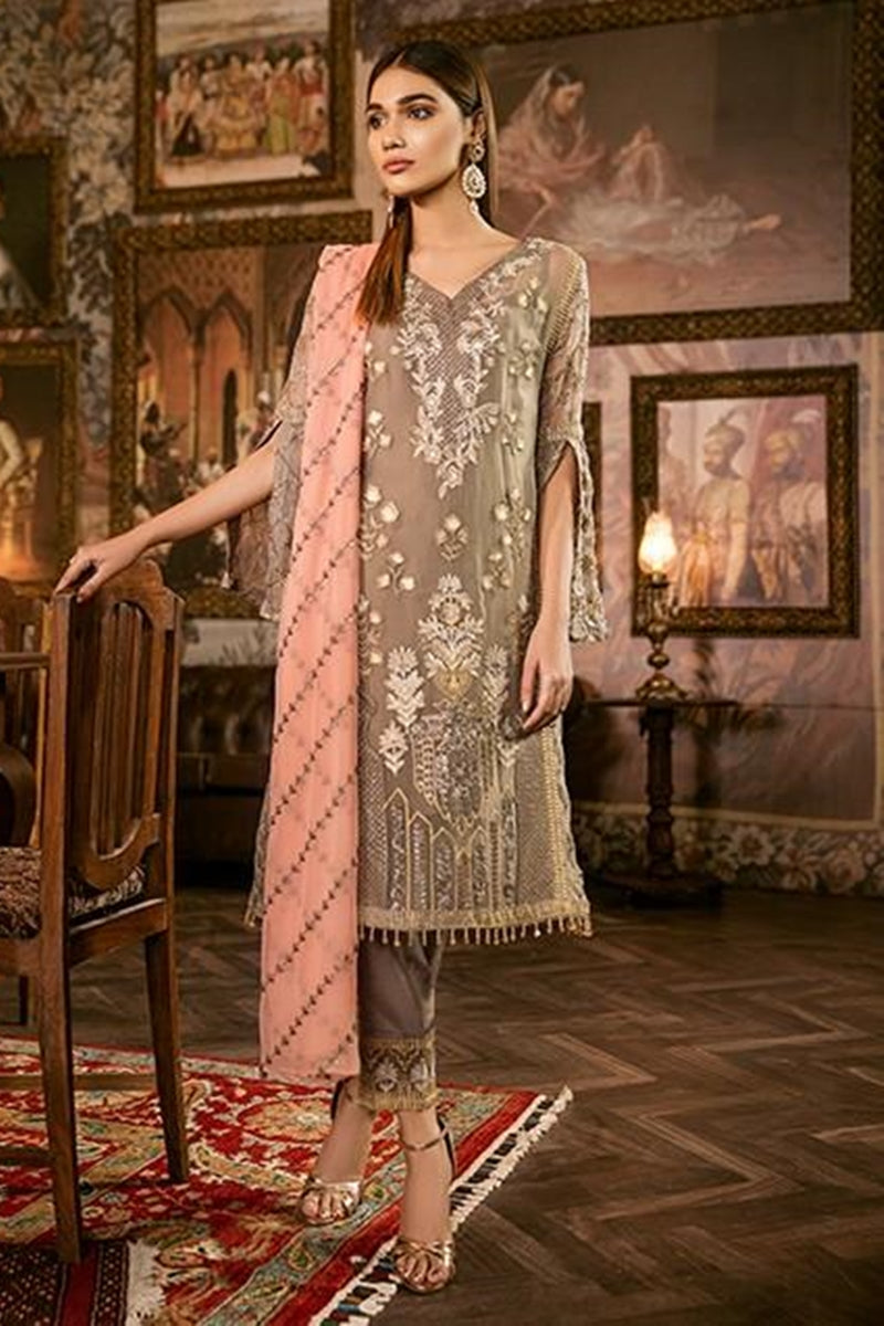 Iznik Warm Sand (IZK 02) Unstitched Chiffon Collection Embroidered Two Piece Shirt & Duppata