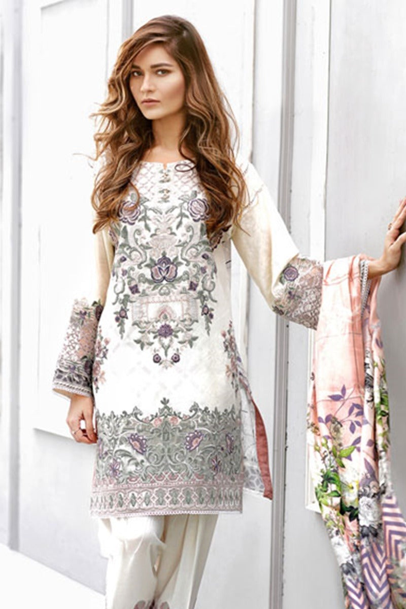Baroque Daisy Flint Embroidered Three Piece Winter Collection