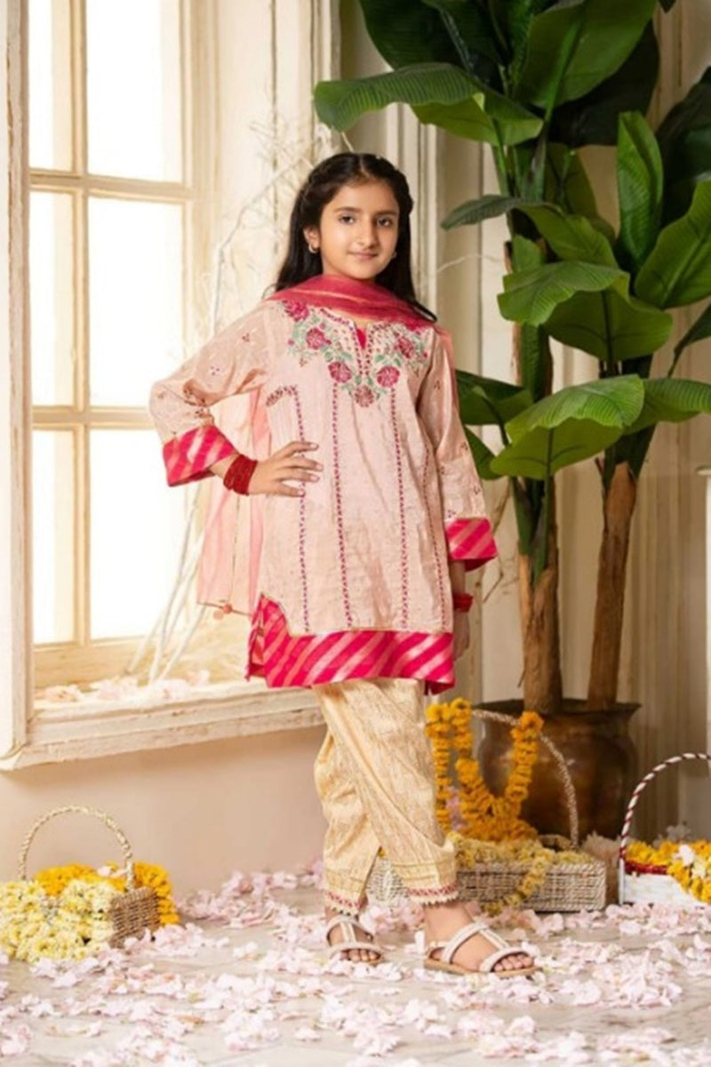 FCP-03 pink Printed_Embroidered kids Wear Lawn two piece