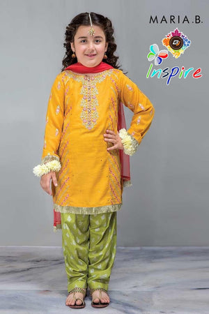 Maria B D-266 Yellow Kids Wear Linen Embroidered two piece